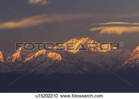 Stock Photography of Kanchenjunga Massif, third highest peak in.