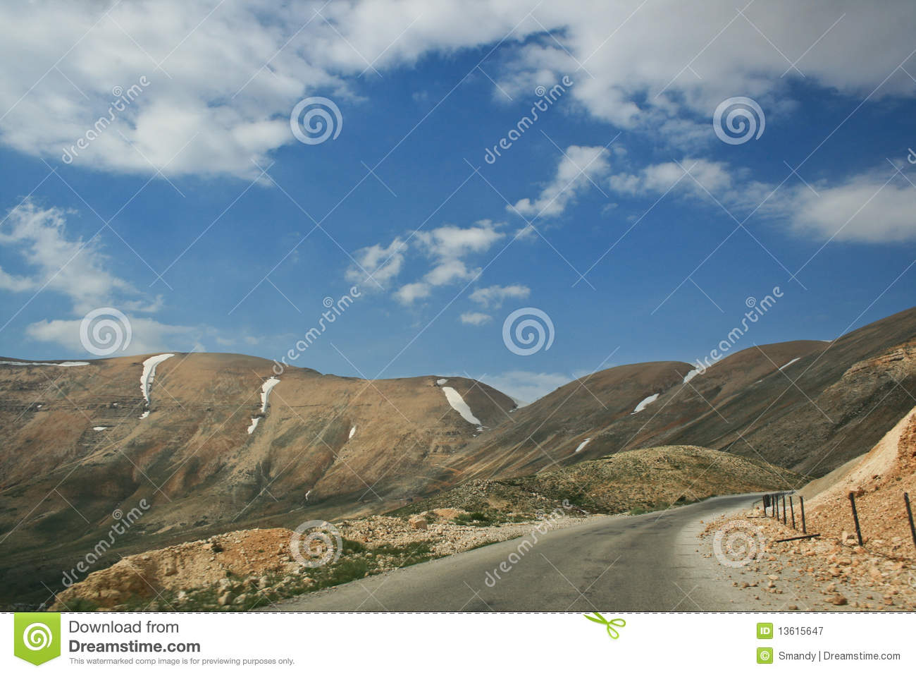 Mountain Road On The Highest Peak Of Lebanon Royalty Free Stock.