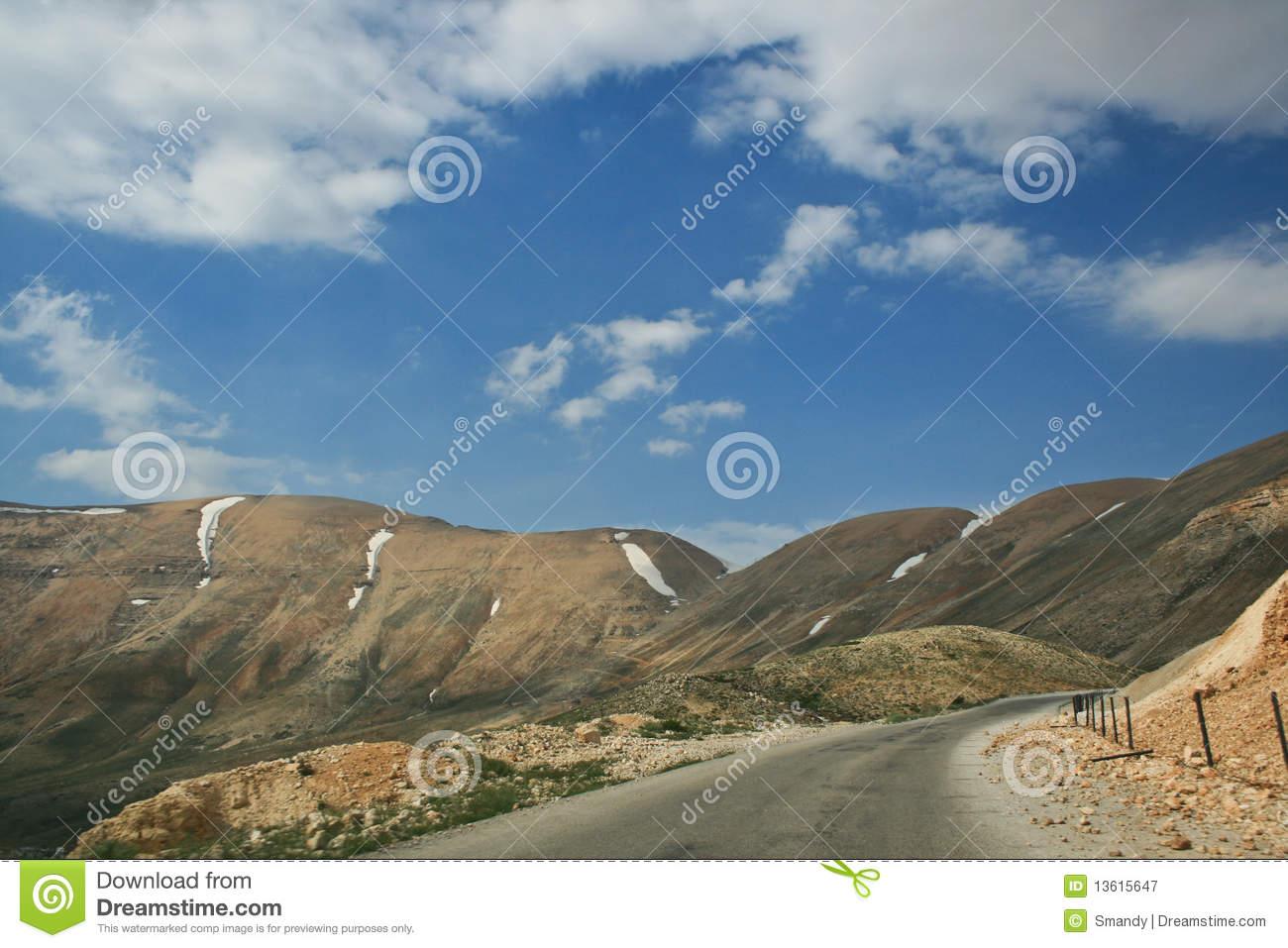Mountain Road On The Highest Peak Of Lebanon Royalty Free Stock.