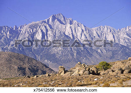 Stock Images of Mt Whitney, highest point in CA x75412556.
