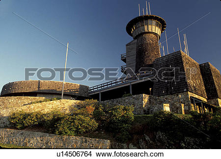 Stock Photo of Georgia, GA, Brasstown Bald visitor center and.