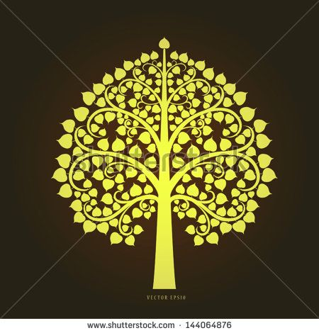 Gold Bodhi tree in Thai art style, vector eps10.