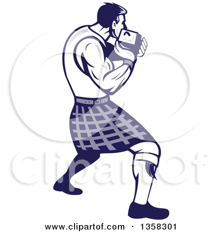 Clipart of a Retro Scotsman Athlete Wearing a Kilt, Playing a.