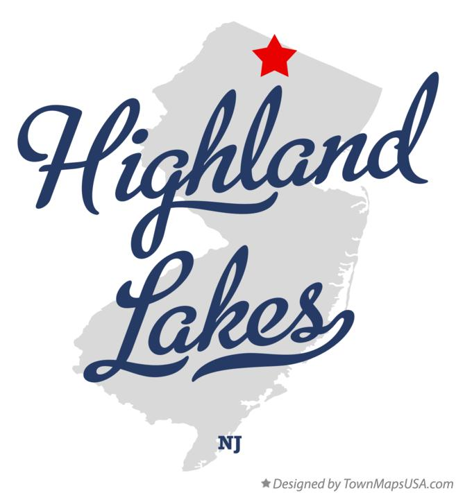 Map of Highland Lakes, NJ, New Jersey.