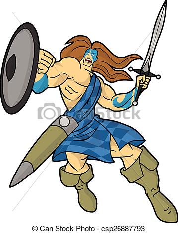 EPS Vectors of Highlander Warrior Cartoon.