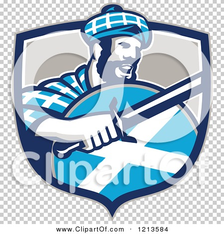 Clipart of a Scottish Highlander in a Tartan with a Sword and.