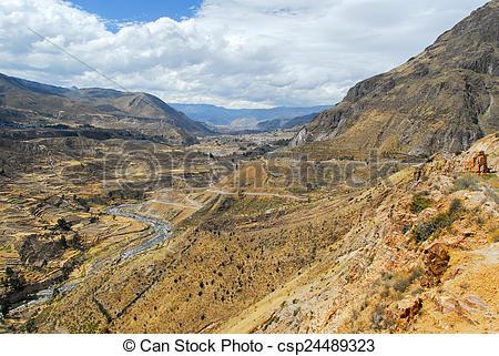 Stock Photo of Colca Canyon, Peru Panorama.