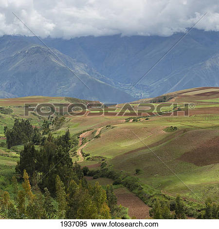 Stock Image of Path Through Valley Landscape; Sacred Valley Peru.