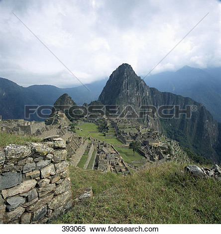 Stock Image of Incan ruins at Machu Picchu, Andes Mountains, Peru.