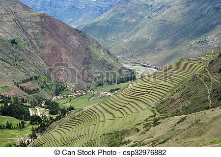 Pictures of Inca settlement, Pisac, Peru. Terraced fields in the.
