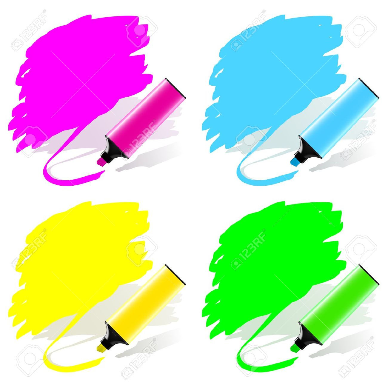 Highlighted Labels By A Marker In A Vector Set Royalty Free.