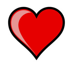 Valentine Clipart Picture of a Shiny Heart with Highlights.