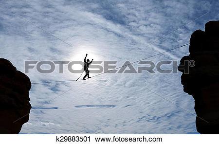 Stock Photography of Highline walker silhouette k29883501.