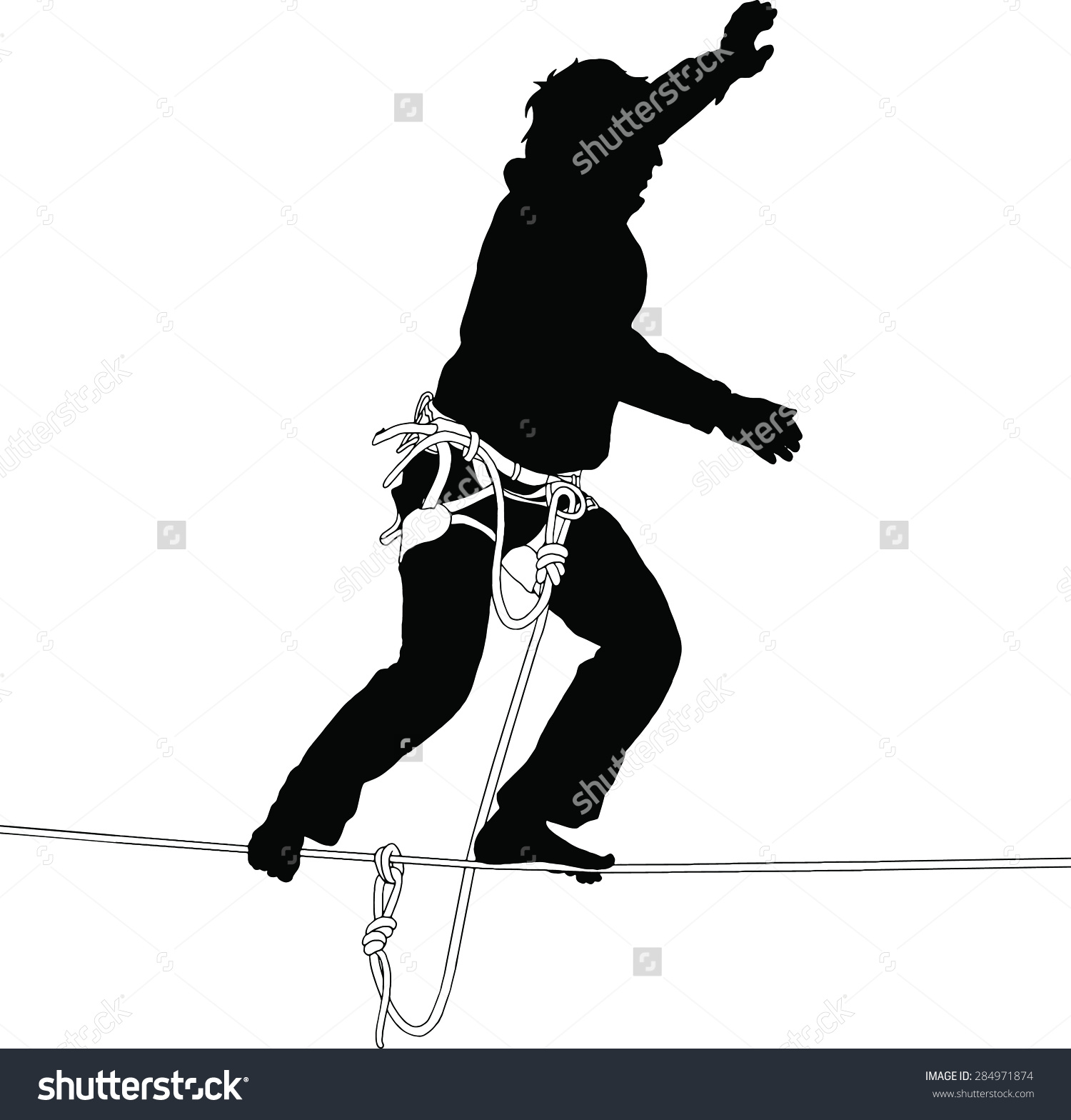 Silhouette Man Standing On Highline Safety Stock Vector 284971874.