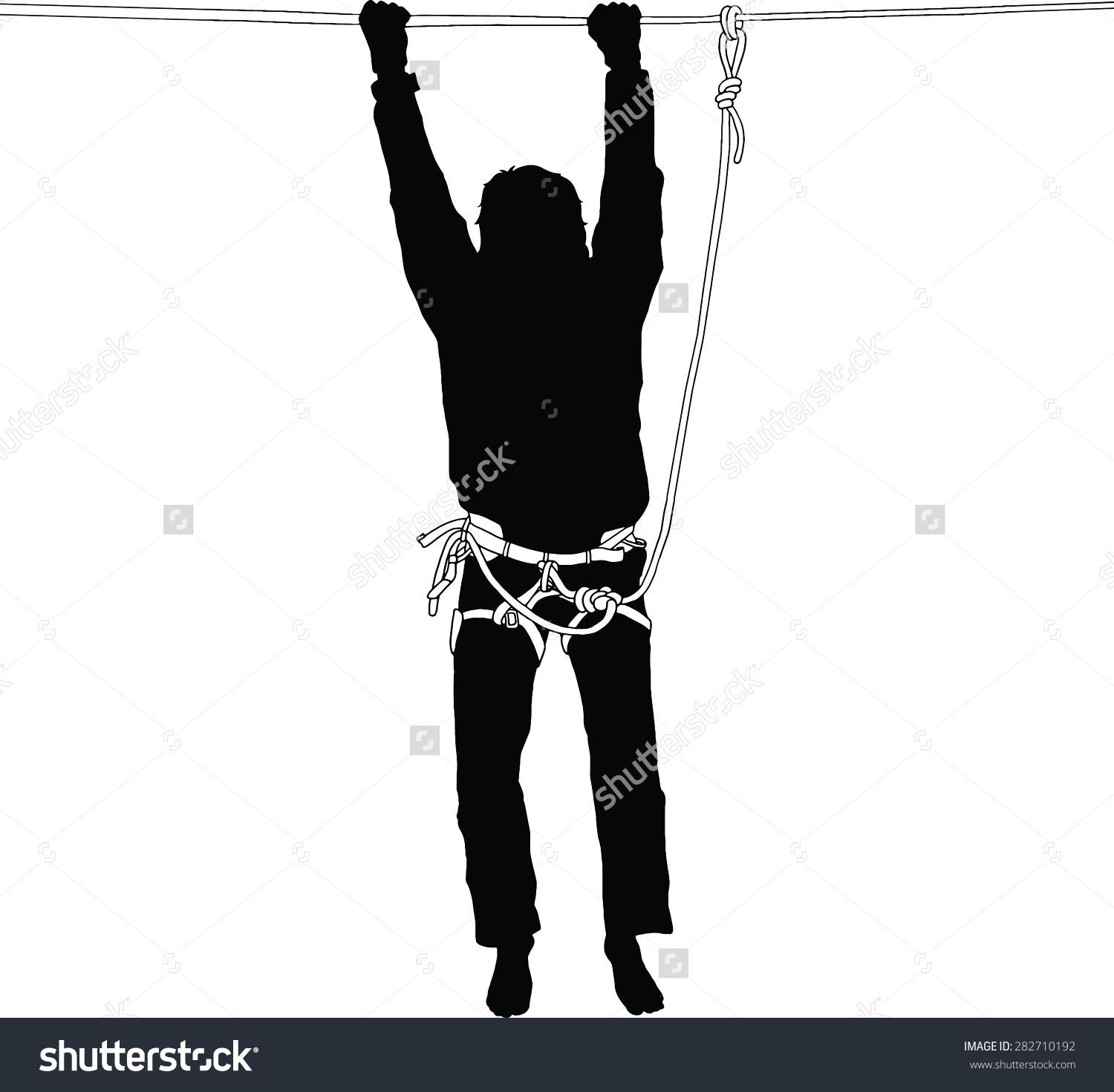 Silhouette Man Hanging On Highline Safety Stock Vector 282710192.