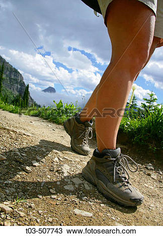Stock Photo of Female hikers legs on Highline Trail with Reynolds.