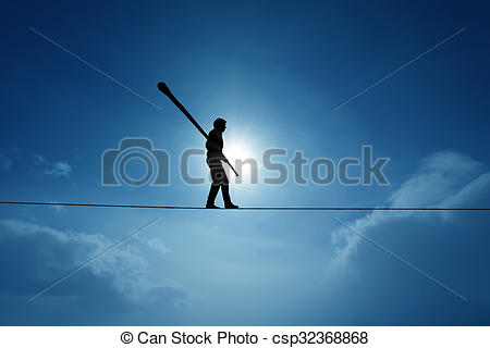 Stock Image of Concept of risk taking and challenge highline.