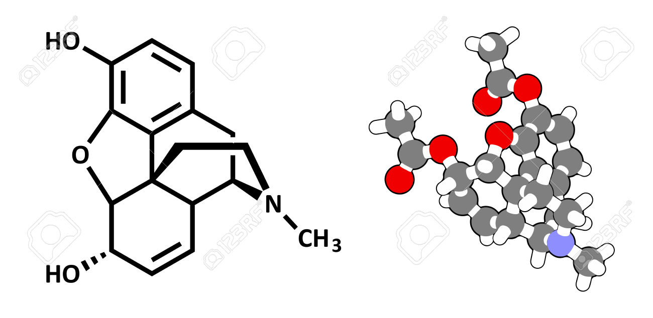 Morphine Pain Drug Molecule. Highly Addictive. Isolated From.