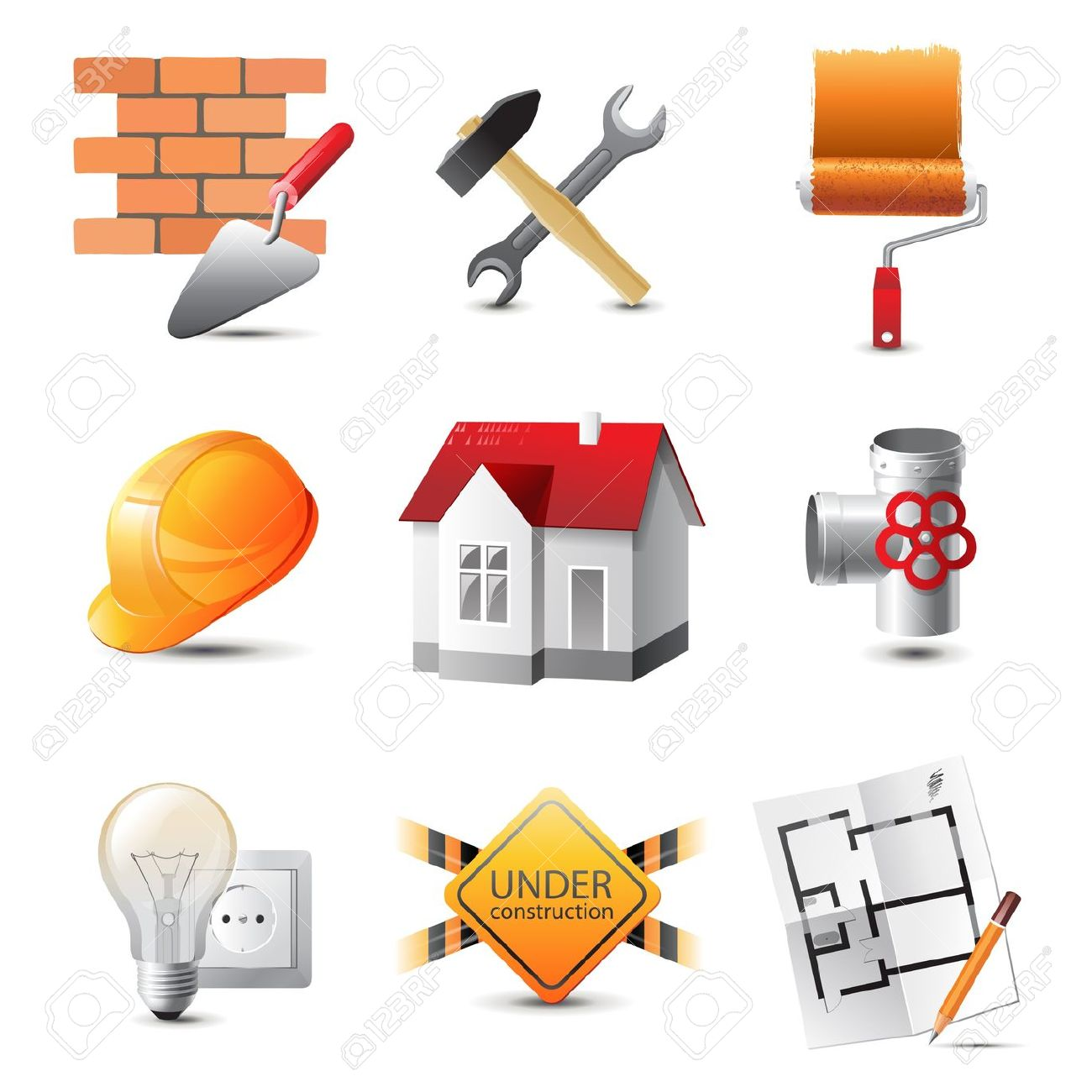 Construction tools clipart.