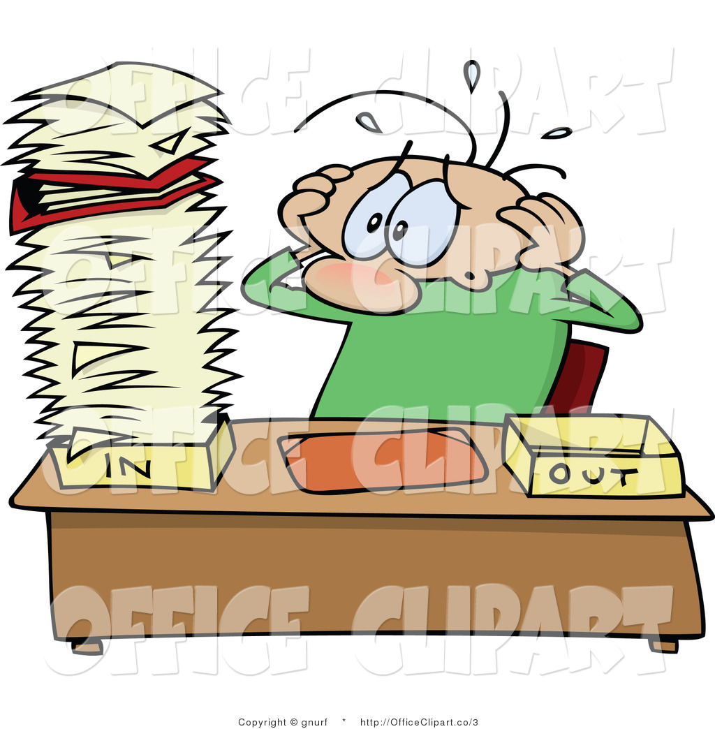 Vector Clip Art of a Man Staring at a Highly Stacked Inbox by.