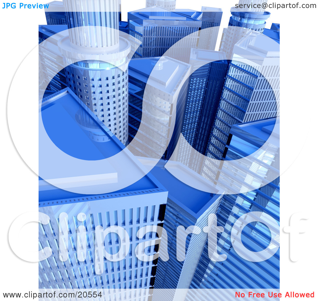 Clipart Illustration of a Cityscape Of Blue Skyscrapers And.