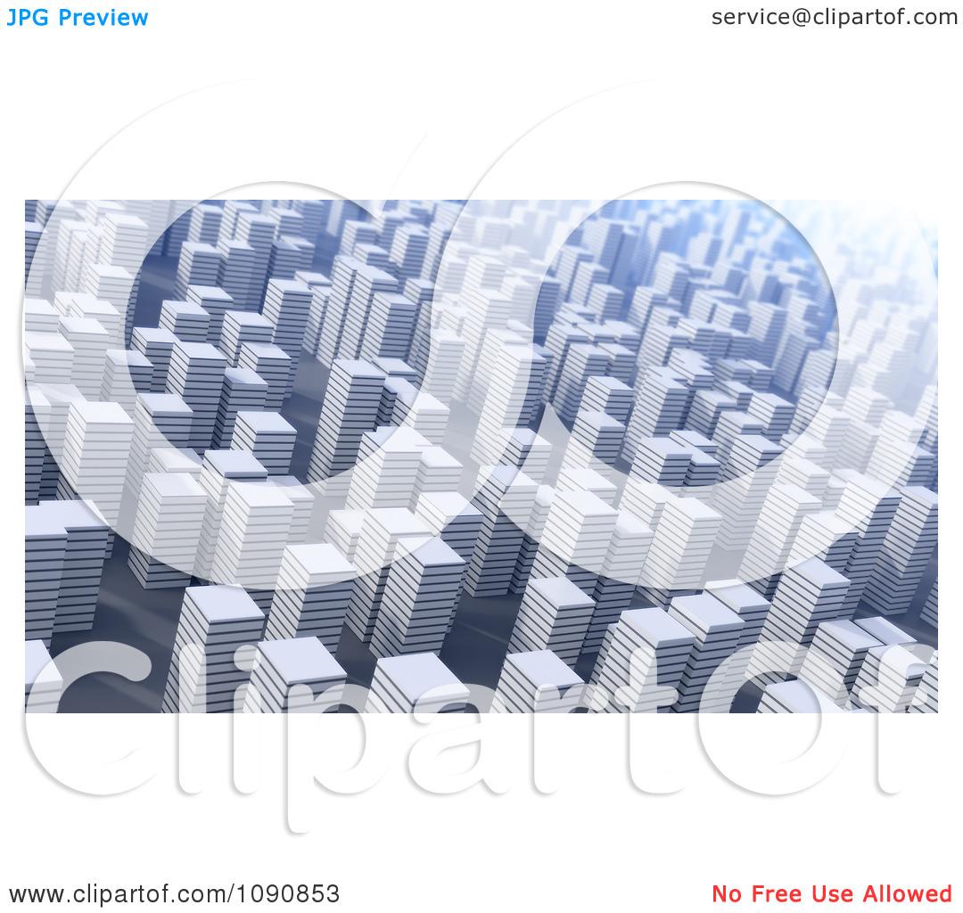 Clipart 3d Cityscape Of White Highrises.