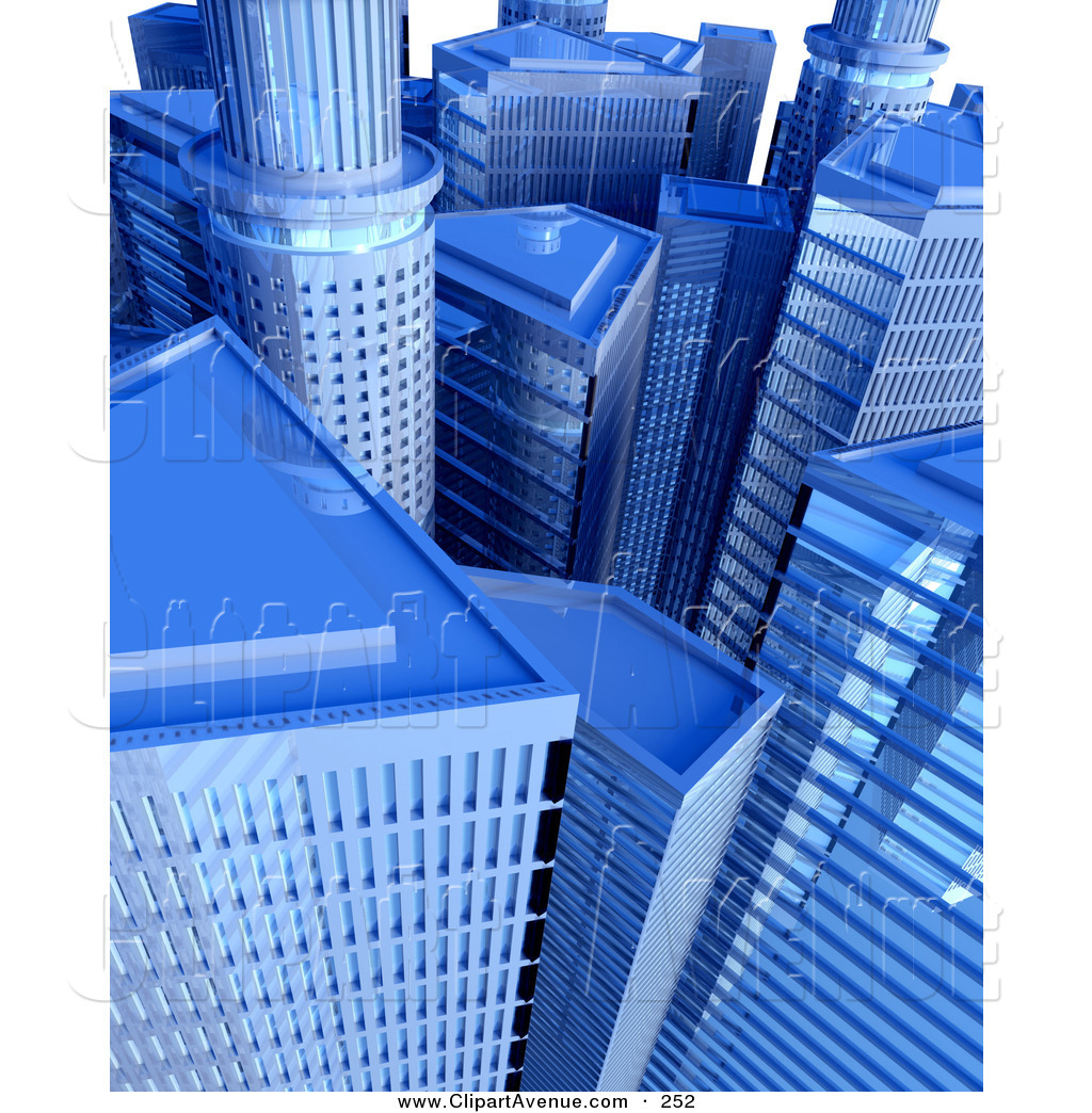Avenue Clipart of a Cityscape of Tall Blue Skyscrapers and.