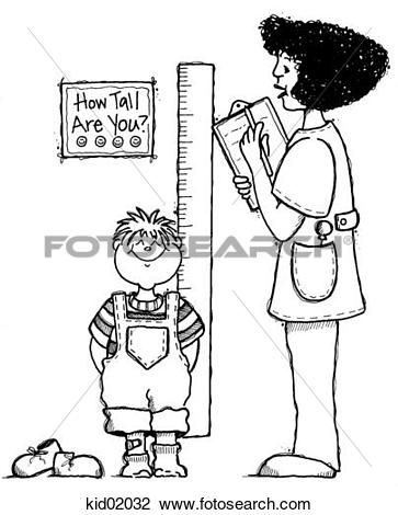 Clip Art of Illustration of nurse measuring height of child.