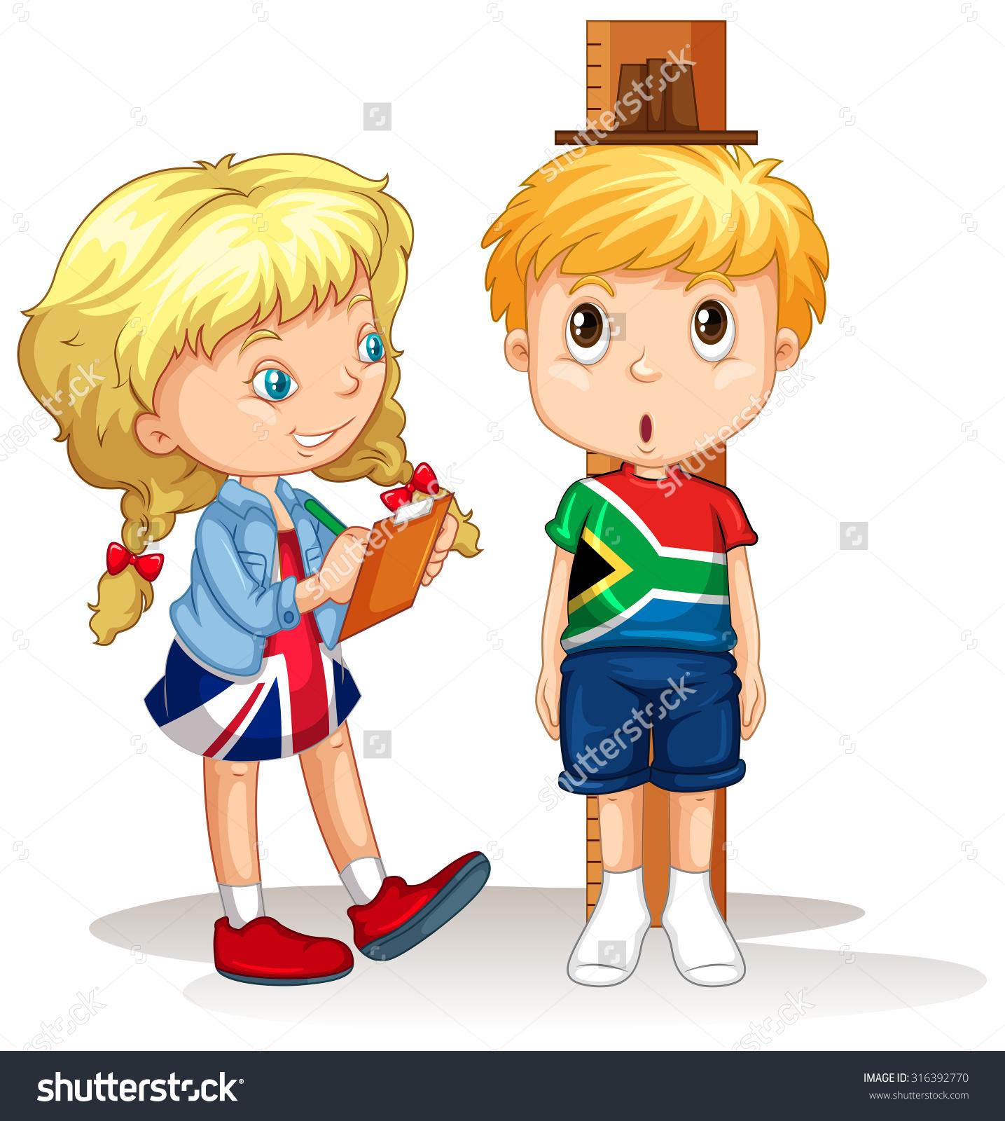 Boy Girl Measure Height Illustration Stock Vector 316392770.
