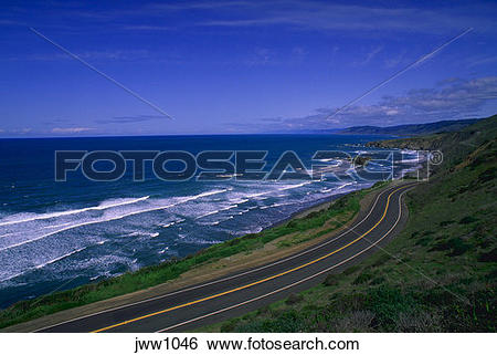 Stock Images of U.S. Highway 1 winding along coast, Northern CA.