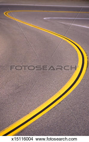 Stock Photo of USA, California, Highway 1, twisting road line.