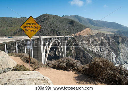 Stock Image of Cliff edge warning sign, highway 1, Big Sur.