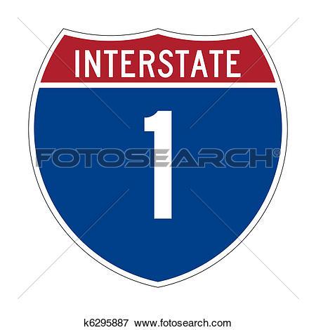 Stock Illustration of Interstate Highway 1 sign k6295887.