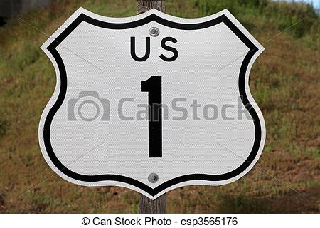 Stock Image of US Highway 1 Sign.