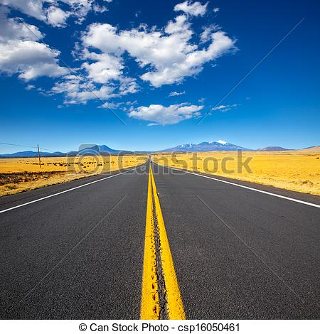 Stock Image of Arizona Highway 89 US with view of snow Humphreys.
