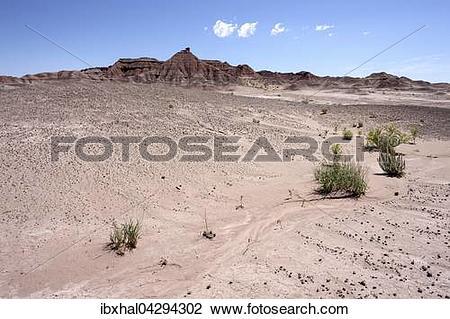 Stock Photo of Felsen in karger Landschaft, Erosionslandschaft am.