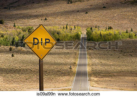 Stock Photo of Elevated view of dip warning sign on highway 89.
