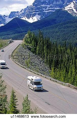 Stock Photo of image provincial highway 93 its traffic winds.