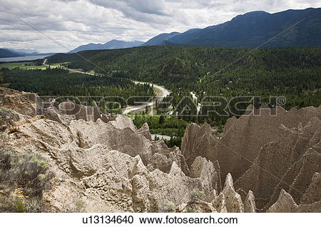 Stock Photography of The Dutch Creek Hoodoos with highway 93 and.