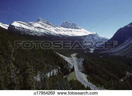Stock Photograph of Icefields Parkway also known as Highway 93, is.