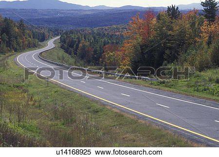 Stock Image of road, autumn, Vermont, Scenic highway I.