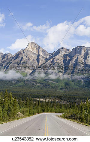 Stock Photo of The Icefields Parkway also known as Alberta Highway.