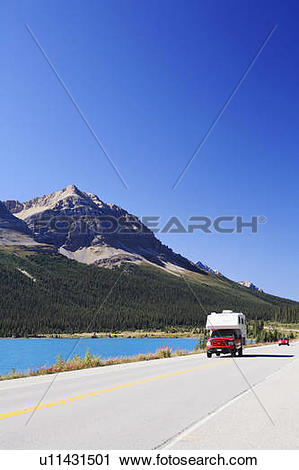 Stock Photography of Camper and other traffic along the Icefields.