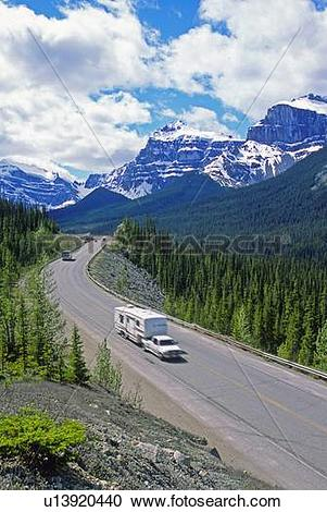 Stock Photography of image provincial highway 93 its traffic winds.