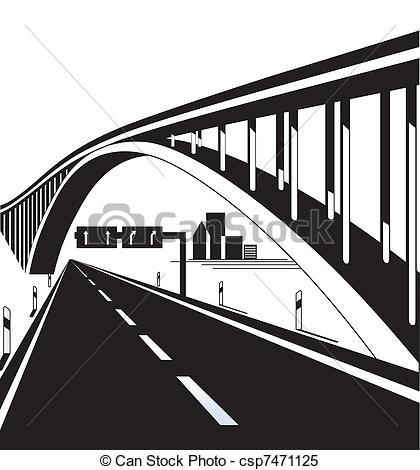 Clipart Vector of Highway bridge csp7471125.