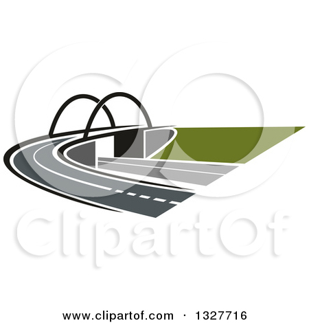 Clipart of a Highway Road, Street and Bridge.