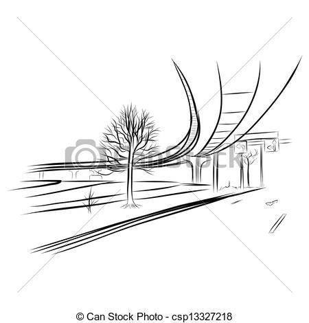 Vector Clip Art of Road under overpass sky train bridge.
