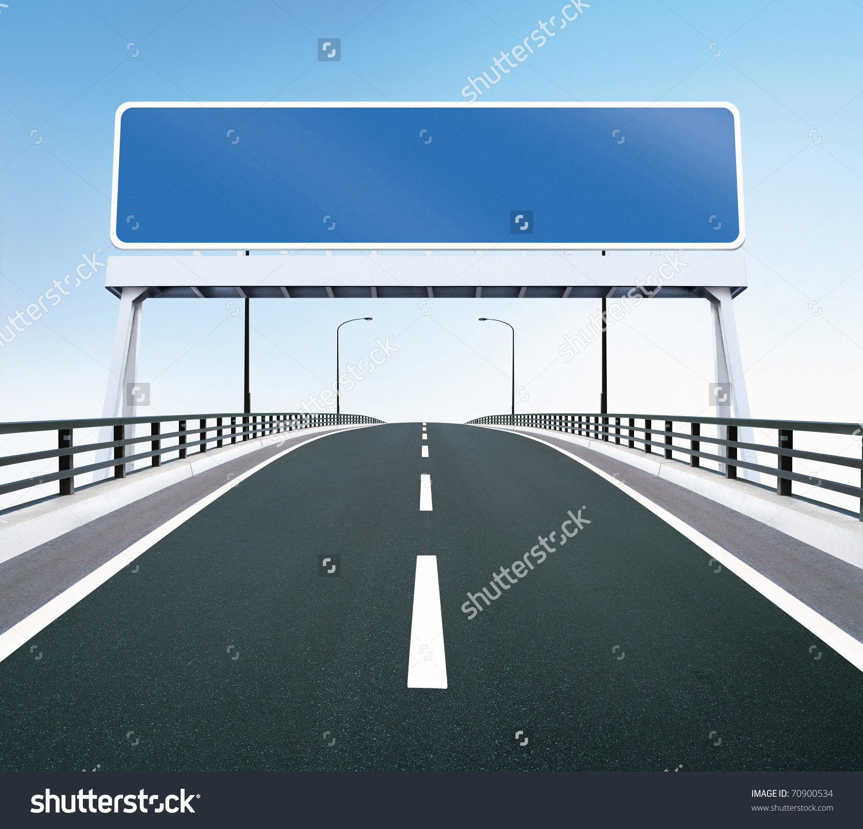 Highway Bridge Blank Highway Sign Room Stock Illustration 70900534.