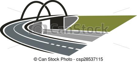 Vector Clip Art of Highway road with bridge abstract icon.