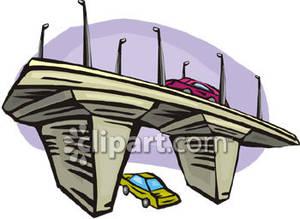 Car on a Bridge and a Car Under a Bridge.